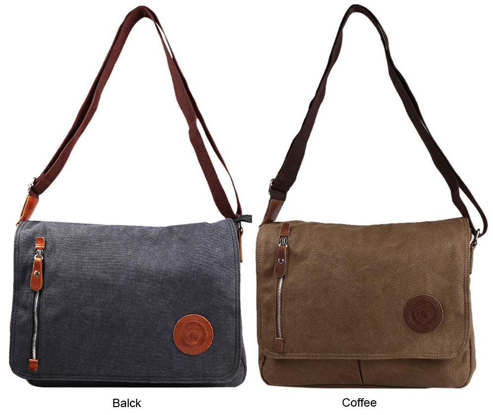 ThiKin Casual Mobile Sling Crossbody Bag Vintage Canvas Men Messenger Bag Solid Color Business Trip Bag Travel Shoulder Bag