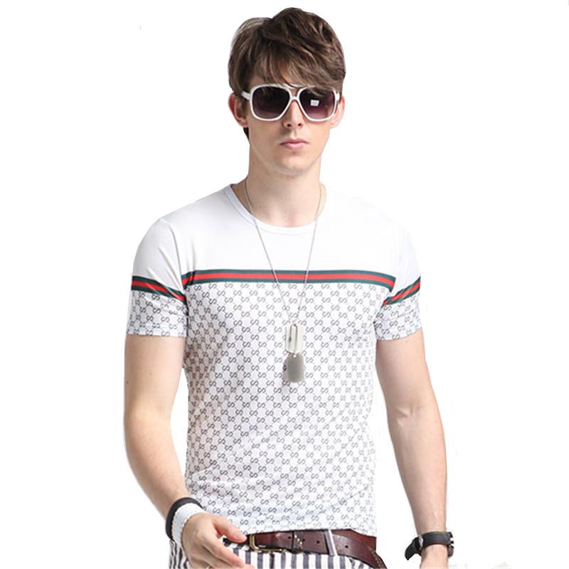 2016 Fashion Men s T Shirts Luxury Brand Cool Ice Silk Casual font b Plaid b
