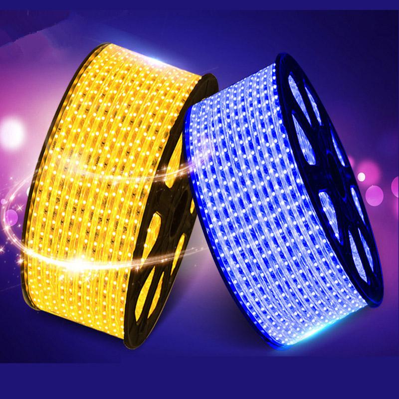 SMD 5050 AC220V LED Strip Flexible Light 60leds/m Waterproof LED Light With Power Plug 1M/2M/3M/5M/6M/8M/9M/10M/15M/20M ZK93(China (Mainland))