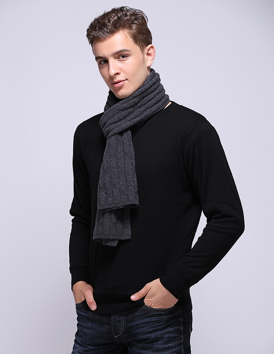 Fashion 2017 Autumn Winter Warm Knitted Luxury Brand 100% Pure Wool Scarf Shawl Neck Wrap Men Scarves Wraps Echarpe Hiver Homme