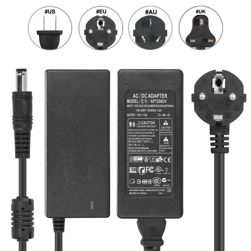 Здесь продается  ( 10 pcs/lot ) DC12V 6A AC Adapter Converter Power Supply + EU AC Power Cord Cable For LED Strip Display Light LCD Monitor CCTV  Электротехническое оборудование и материалы