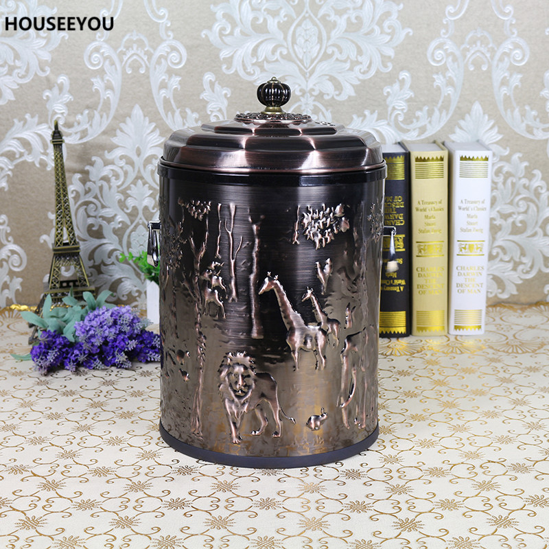 chinese style stainless steel waste bin creative upscale rash bin living room trubbish bin home decoration cover tea trash cans - Decorative Trash Cans