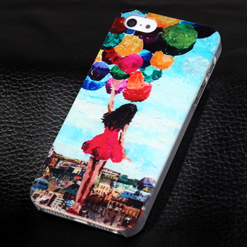 2016 For Apple iPhone 4 4s Cute Girl Ballons Pattern Hard Back Phone Case for iPhone 4 4S Painted Protector Phone Cases Cover(China (Mainland))