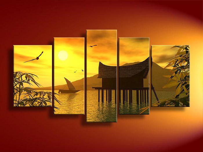 5 painel Wall Art paisagem laranja Feng Shui amarelo pintura a óleo sobre tela oriente Modern Living(China (Mainland))