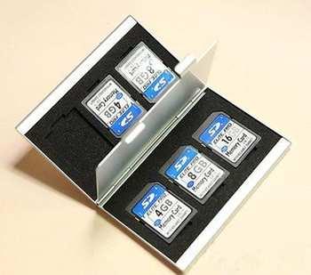 Серебряный алюминиевый памяти SD держателя карты чехол Box 6SD для камеры GPS канона Nikon универсальный карты протектор