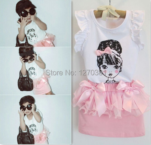 children and kids sleeveless elegant pink bow baby girl girl clothing set suit clothes set shirt+skirt set for height 80cm-120cm(China (Mainland))