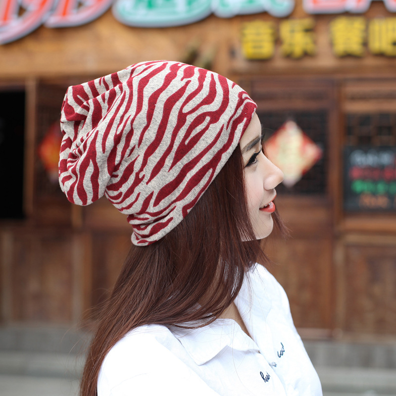 2016 Hot Sale Multifunctional Scarf Cap Autumn Warm Winter Hat Knitted Xiannv All-match Zebra Stripe Women Beanie Bonnet Enfant(China (Mainland))