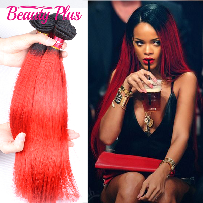 Rihanna weave red ombre dark root brazilian virgin hair 7a grade red ombre hair extensions 1b red two tone human hair 3 bundles<br><br>Aliexpress