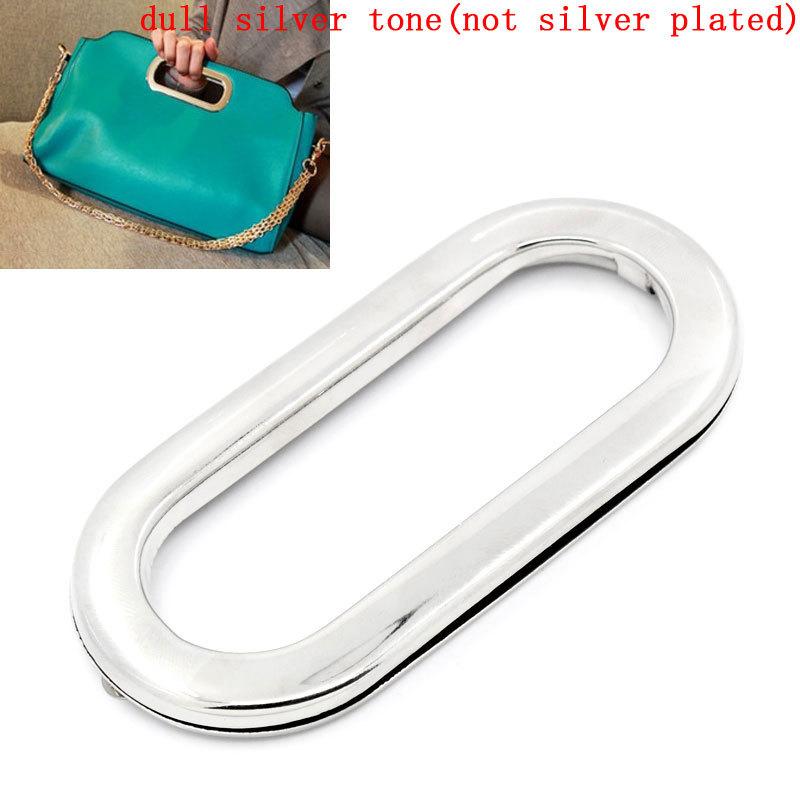 "Alloy Metal Frame Kiss Clasp For Purse Bag Purse Handles Oval Silver Tone 10.9cm x5.2cm(4 2/8"" x2""), 1 Piece (B25286S)(China (Mainland))"