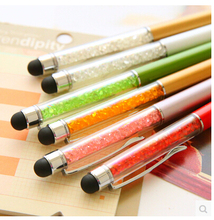 Cute Crystal pen Diamond ballpoint pens Stationery ballpen 2 in 1 crystal stylus pen touch pen more color for choose