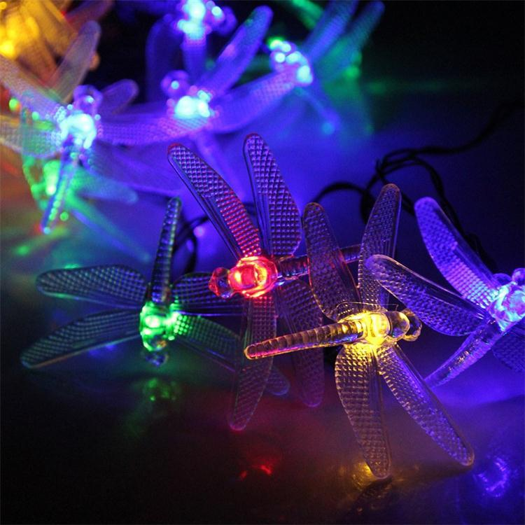 20 LED Dragonfly Solar Power Stake Multi-Color String Lights Lamp Waterproof for Outdoor Tree Wedding Xmas Multi Color(China (Mainland))
