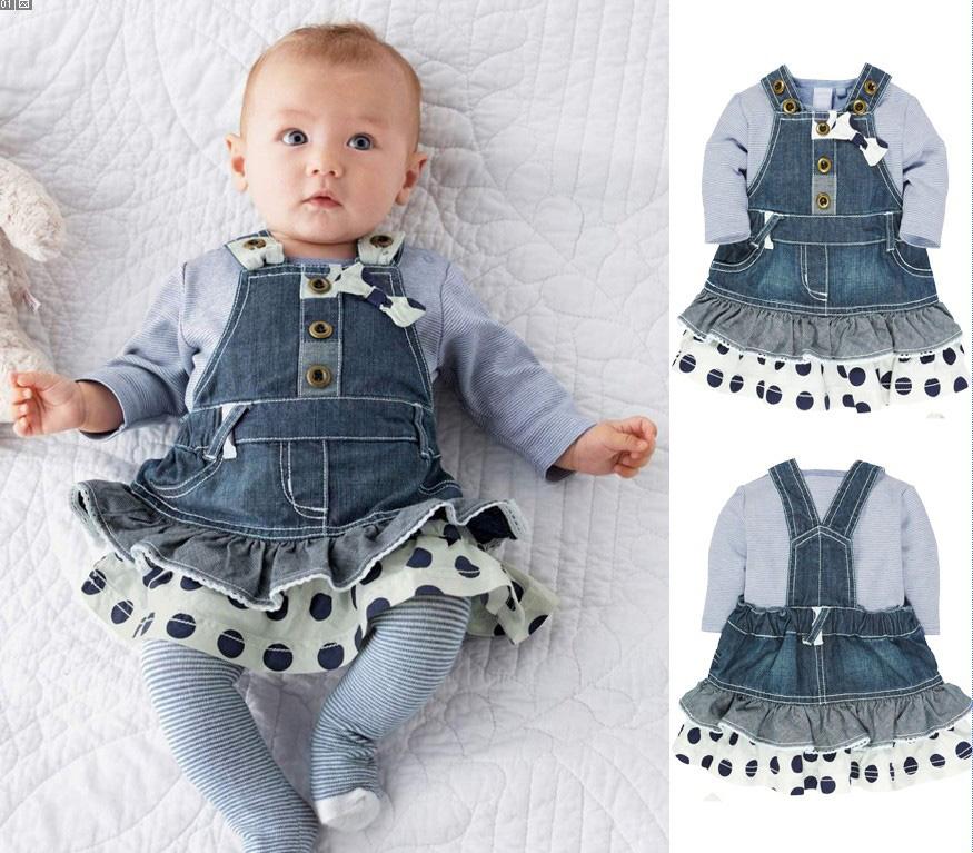kids clothes Long sleeve Gray T-Shirt+jeans stitching Strap dress 2pcs suit Lovely Fashion Children Set vetement enfant fille(China (Mainland))
