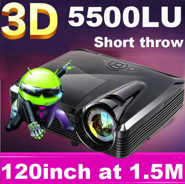 Full HD 1080P 5500Lumens Smartbeam Quad core Android 4.4 support WiFi Overhead Portable Education Short throw DLP 3D Projector - ChuangTou Electronics Technology Co., Ltd. store