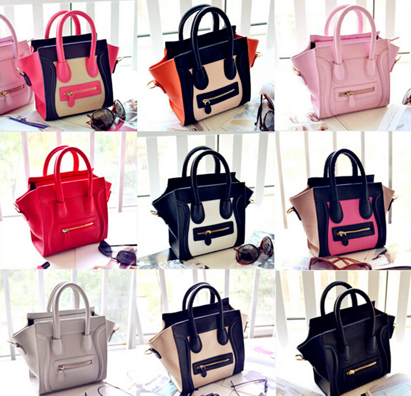 New Arrival Trapeze Bags Smiley handbag PU Leather tote  Bag Fashion Patchwork Shoulder Bags Messenger Bags Bolsos Mujer sac