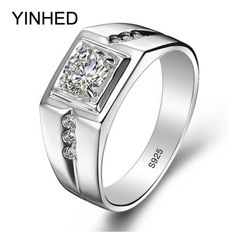90% Off !! Real 925 Sterling Silver Rings for Man Hot Sale Men Wedding Jewelry Ring 0.75 Carat CZ Diamond Engagement Ring ZR29(China (Mainland))