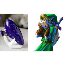 16 Holes Blue Flute Ceramic Ocarina Alto C The Legend of Zelda Triforce Zelda Cosplay Educational Musical Toys for Children(China (Mainland))