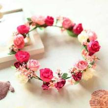 red flower floral bridal hair crown wreath hairpiece boho cream wedding hair(China (Mainland))