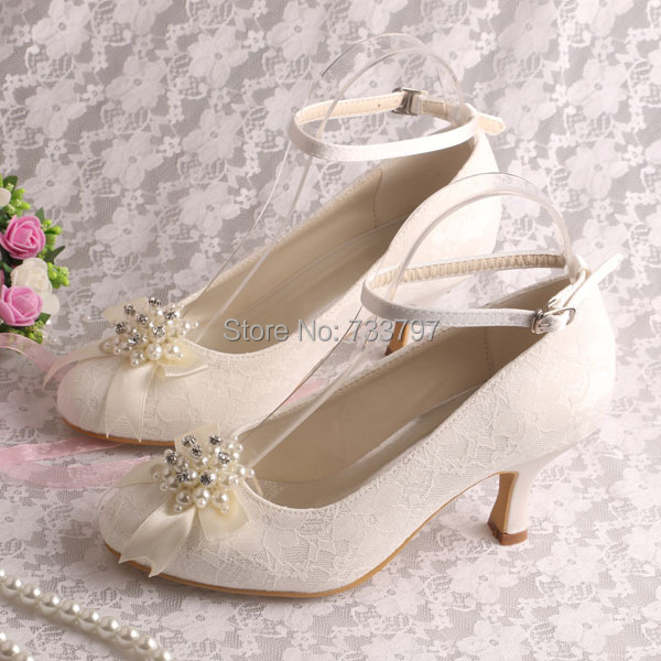 Hot Selling 6.5cm Mid-heel Lace Bridal Shoes Ladies Closed Toe Customized Free Shipping<br><br>Aliexpress