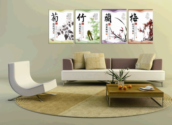Hot Sell 4 Panels Bamboo Flower Painting Wall Hanging Home Decor