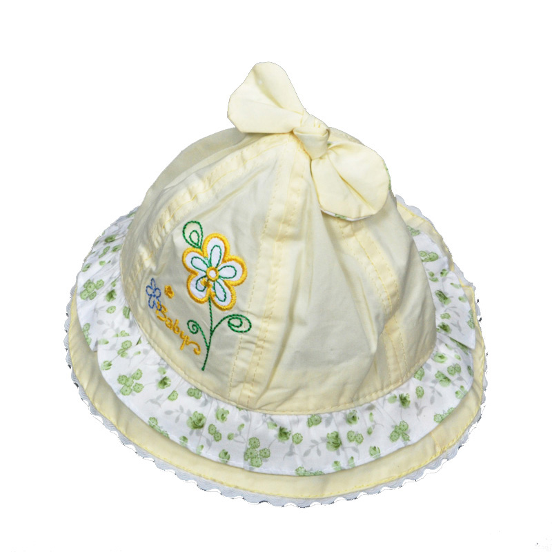 3-24M baby girl Sun Hat flower embroidery Kids Toddlers Baby Girls Fishing Cap summer style high quality cute Baby Bucket Hats(China (Mainland))