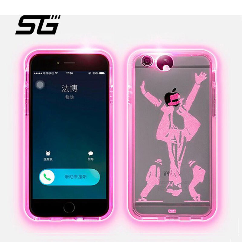 Calls flashing lights transparent silicone 5.5 inch Phone cases 9 colors changing Iron Man hello kitty case for iPhone 6 plus(China (Mainland))