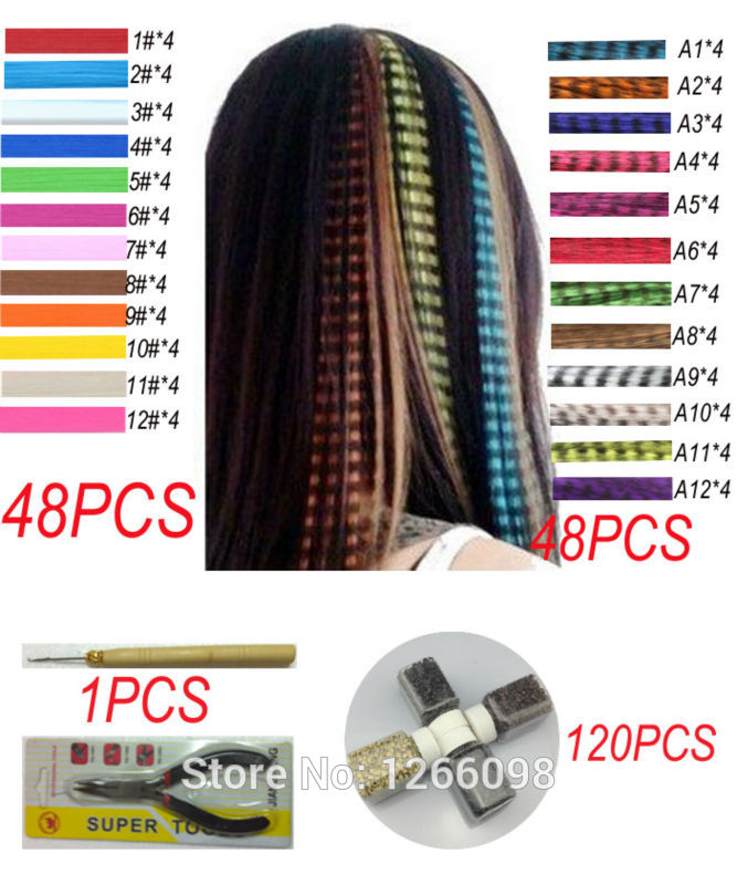 96pcs/set Grizzly and Solid Colors Women Girl Lady DIY Party Make-up Feather Hair Extensions With Beads Hook and PliersTool Kits(China (Mainland))