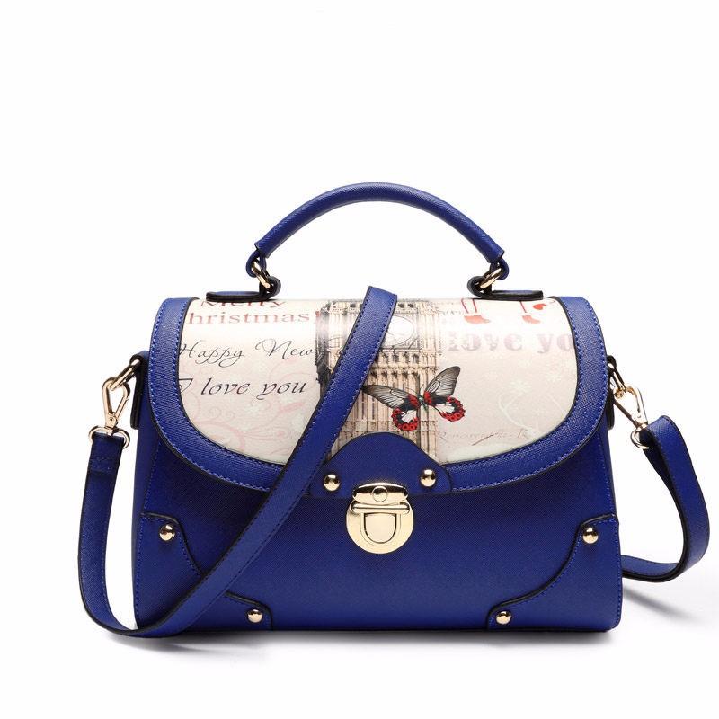 England Style Printing Bag Women Designer Messenger Bag Classic Flap Hand Bag Ladies Gergours PU Single Shoulder Crossbody Bag