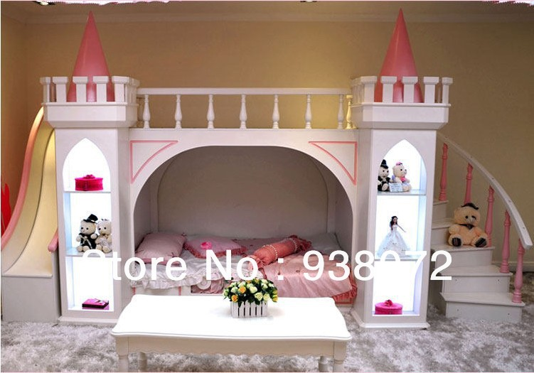 ... kids furniture bedroom set bunk bed Princess Castle children bed