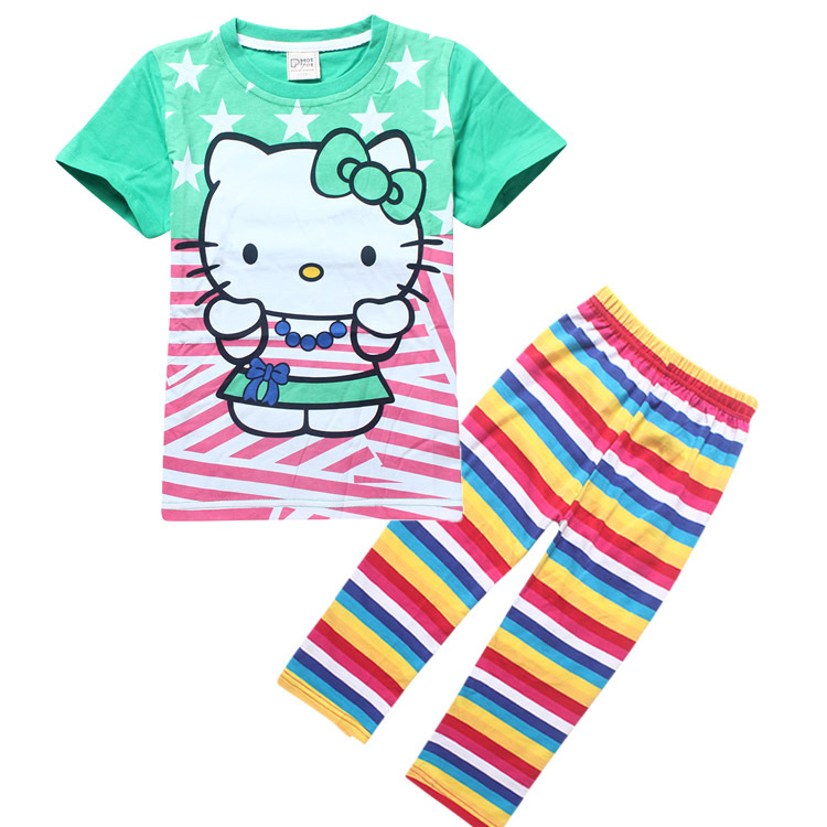 New 2016 girl's Hello Kitty cotton t-shirt and pants sets children's short-sleeved cartoon kids boys child's clothes(China (Mainland))