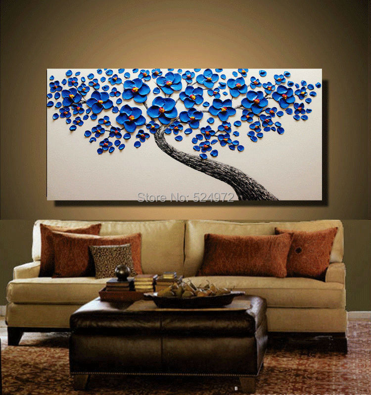 Buy Hand-painted modern home decor wall art picture blue Cherry Blossom white thick palette knife oil painting on canvas no frame cheap