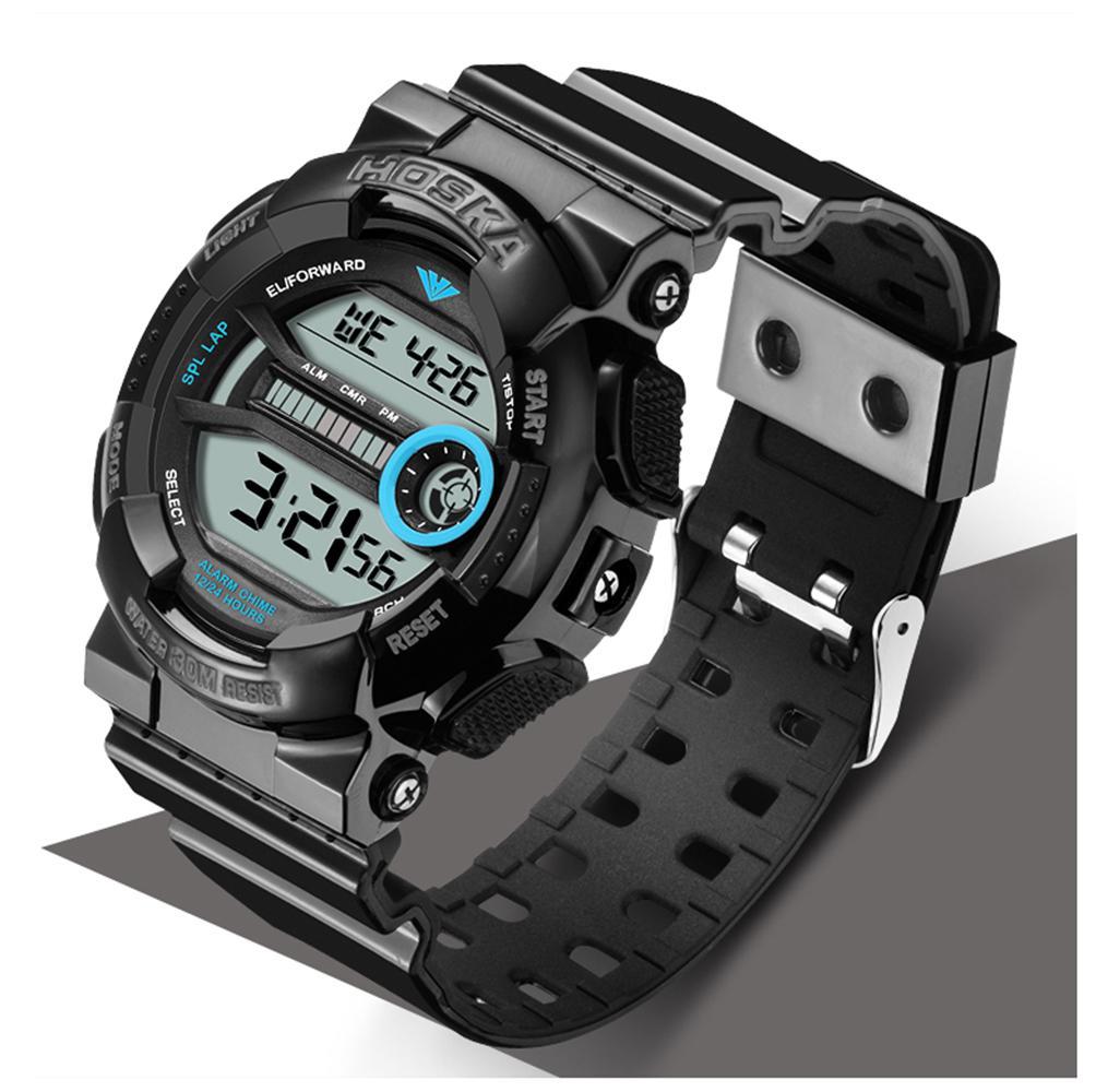 Бренд HOSKA мужские часы цифровые часы мужчины спорт светодиодные электронные часы водонепроницаемый Многофункциональный Классический relogio masculino h015-n