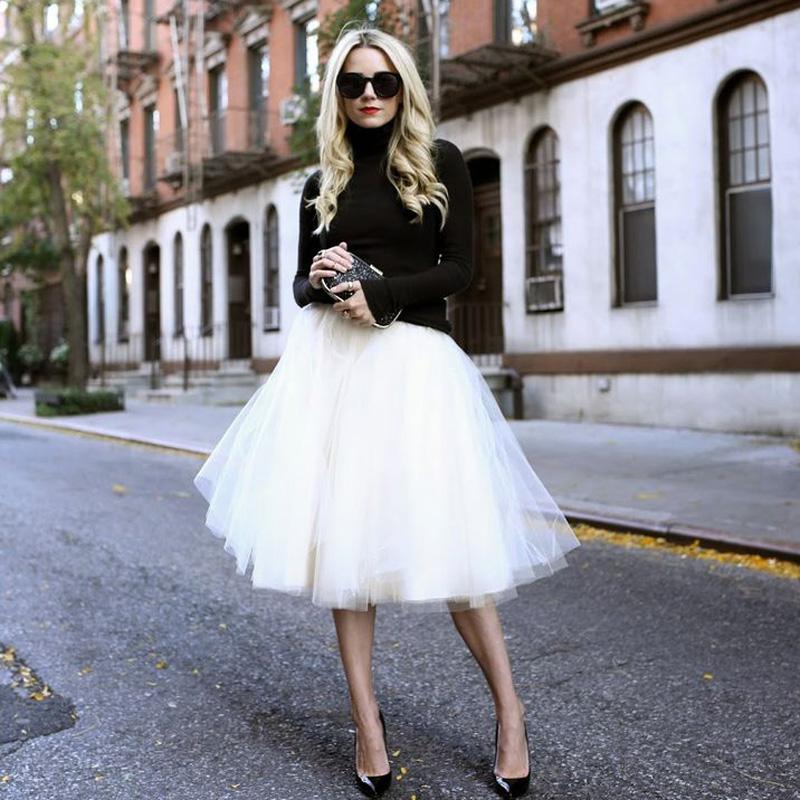Women chiffon puff 6 layer of white gauze skirt of tall waist falda Midi knee length chiffon women size tutu skirts(China (Mainland))