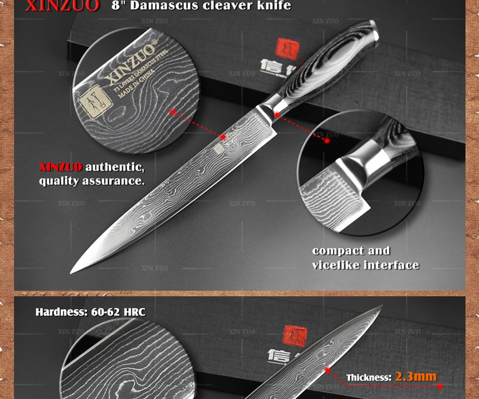 "Buy XINZUO HIGH QUALITY 8"" inches cleaver knife 73 layers Damascus steel kitchen knife VG10 meat Sashimi chef knife free shipping cheap"