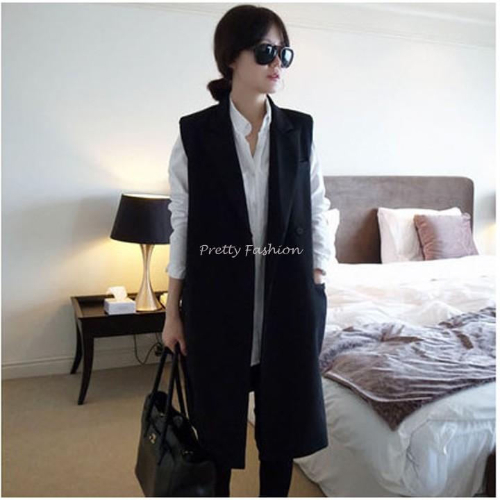 2015 Women Trench Coat Korean Style Women long Vintage Suit Vest Coat Black b7(China (Mainland))