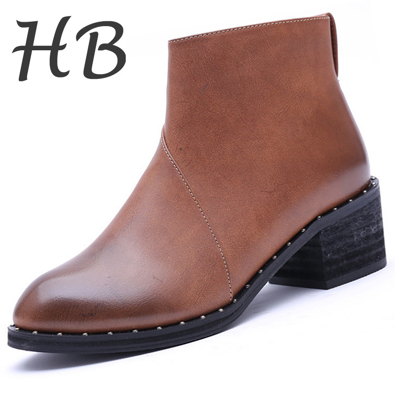 Promotions Women's Boots 2016 Autumn Winter Fashion Ankle Boots Thicken Warm Martin Boots Zipper Artificial PU Women Shoes
