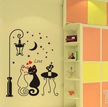 No min order limit+free ship! Waterproof Cartoon cat+lamp+desk+moon+star wall/furniture/cabinet/door sticker home decor(China (Mainland))