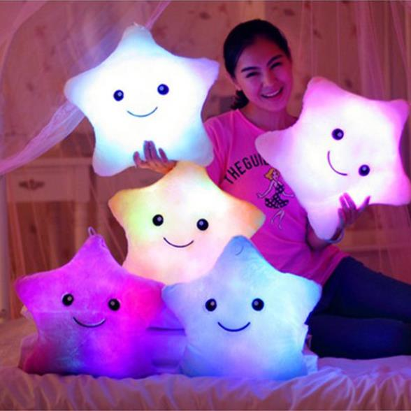 New Free Shipping Battery Powered Decorative Flashing LED Light Plush Pink Smiling Star Cushion Pillow
