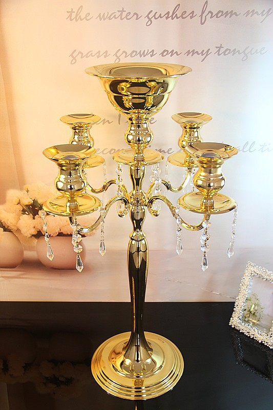 75cm gold 5 arms Crystal Candelabra Candle Holders wedding Centerpiece flower bowl Candlestick event party candelabrum