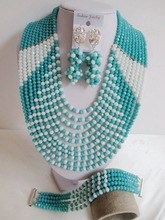 Latest New nigerian wedding african beads teal bule white crystal beaded Women Jewelry Set Free Shipping NAF522(China (Mainland))