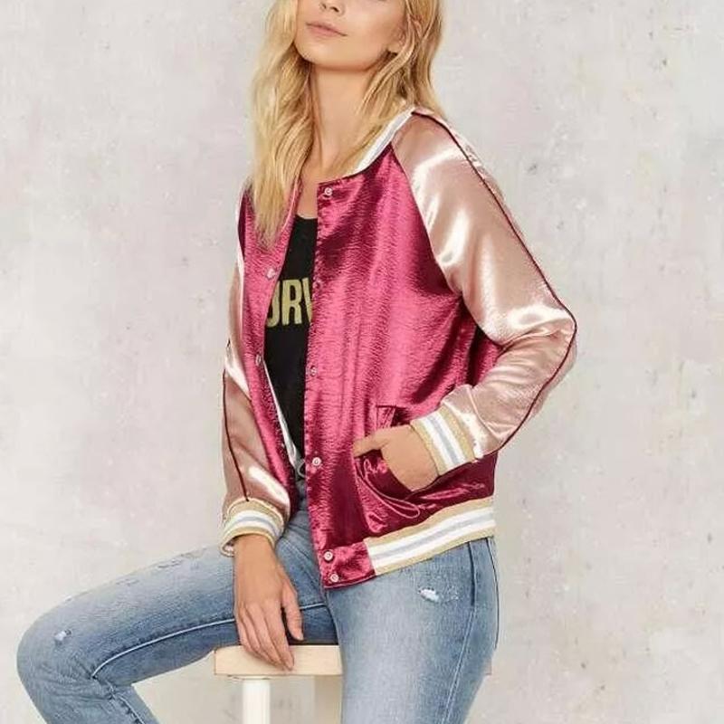 Contrast Color Pink Gold Satin Bomber Jacket 2016 Autumn
