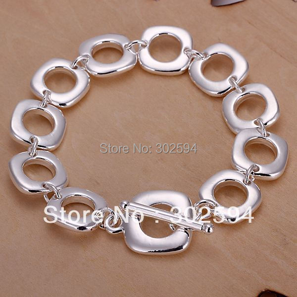 factory wholesale H106 Beautiful fashion Elegant 925 Sterling silver charm square Bracelet high quality Gorgeous jewelry