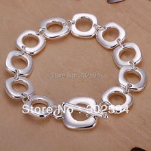 factory wholesale H106 Beautiful fashion Elegant 925 silver charm square 54grams Bracelet high quality Gorgeous jewelry