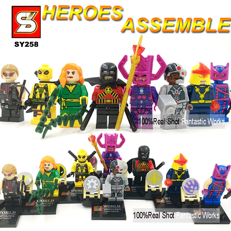 Super Heroes Minifigures 6-8pcs/set SY258 Figures Building Blocks Hawkeye Cyborg Poison Ivy NOVA Red Robin Galactus Deadpool(China (Mainland))
