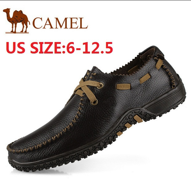 new 2015 leather shoes Casual camel men trend fashion summer soft shoes genuine leather Cowhide 45 47 46 48 male flats 01211(China (Mainland))