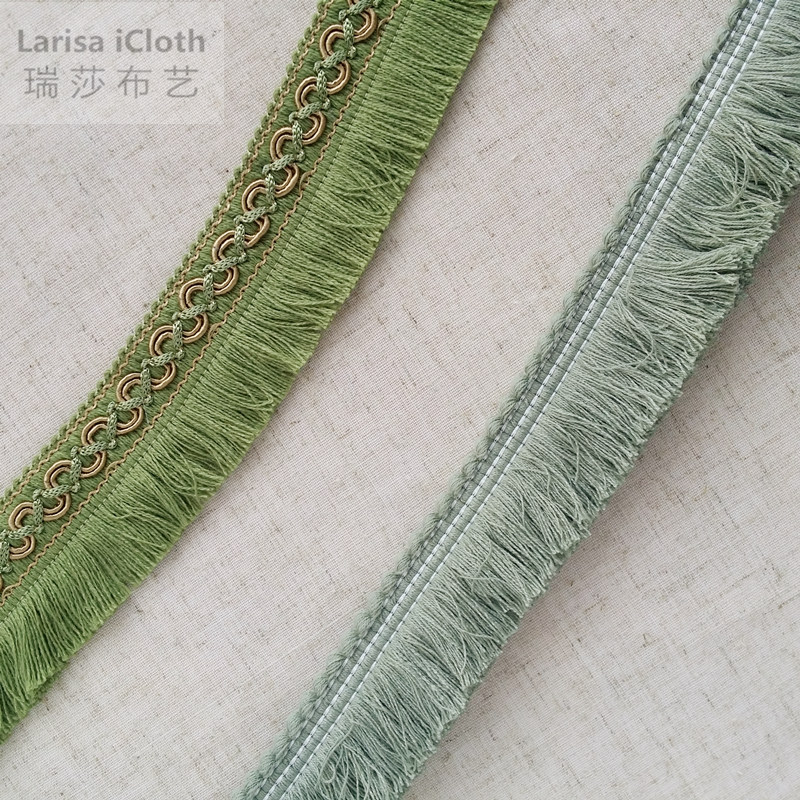 2016 Decorative Green & Light Gray Green Trimming Lace Fringe for table cloth Sofa cover Home Cushion Decoration Sell by Bale(China (Mainland))