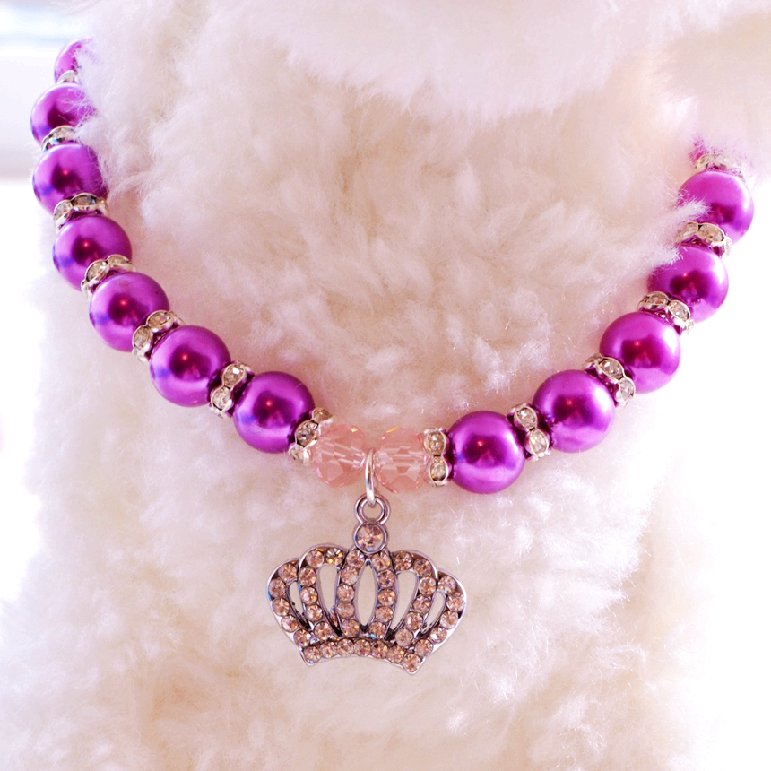 Rhinestone Crown Puppy Dog Necklace For Pets 0530A Chihuahua Poodle Cat Pink/Blue/Purple Pearl Small Animals Jewelry Accessories(China (Mainland))