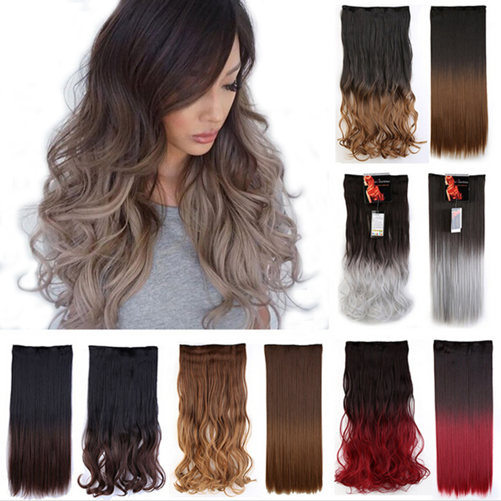 Ombre Hairstyles One Piece Hair Extension 5 Clips Clip in on Hairpiece 100% Real Natural Synthetic Hair Piece Ombre Dip Dye Hair(China (Mainland))