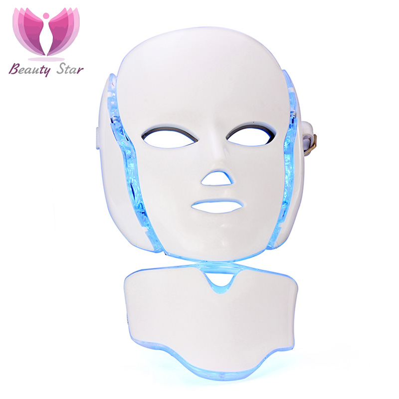 7 Color LED Facial Neck Mask With EMS Microelectronics LED Photon Mask Wrinkle Acne Removal Skin Rejuvenation Face Beauty Spa