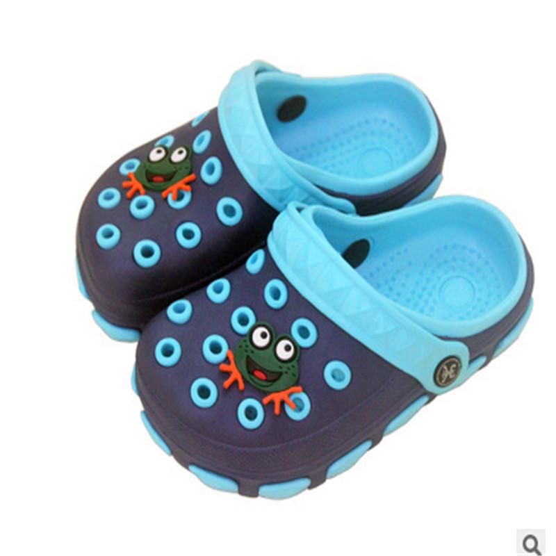 Hot Kids Summer Sandals Slippers GIrl & Boy Children Cartoon Frog Clogs Hole Shoes Wear Non-slip Baby Sandals Garden House Shoes