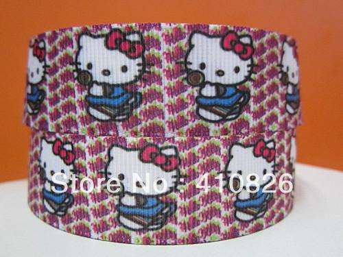 WM ribbon wholesale/OEM 7/8inch 22mm kitty on HK printed grosgrain ribbon 50yds/roll free shipping(China (Mainland))